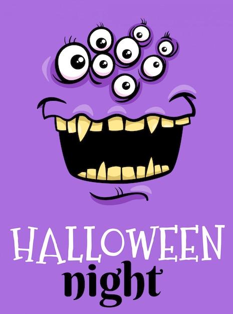 Хэллоуин праздник мультфильм плакат с монстром Premium векторы