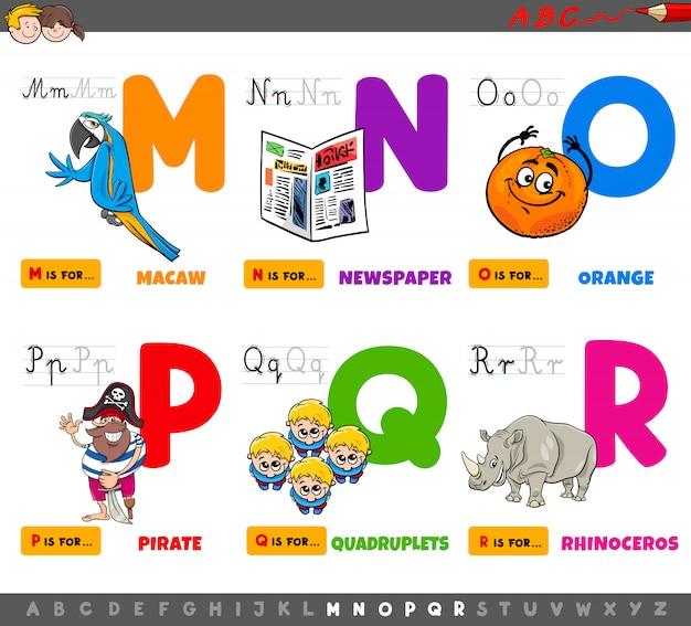教育漫画のアルファベット文字セット Premiumベクター