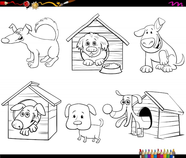 Раскраска мультяшные смешные собачки Premium векторы