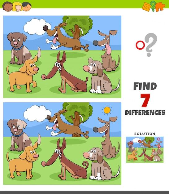 Отличия игры с собаками персонажей группы Premium векторы
