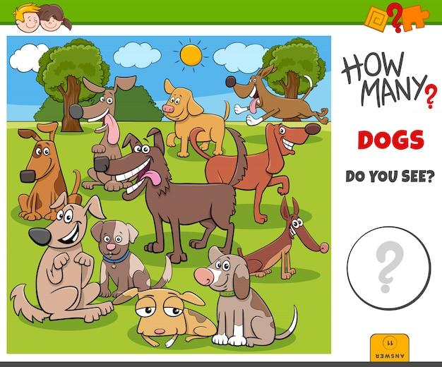 Сколько собак развивающая игра для детей Premium векторы