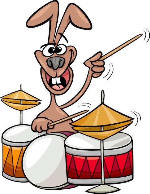 Открытка заяц с барабаном