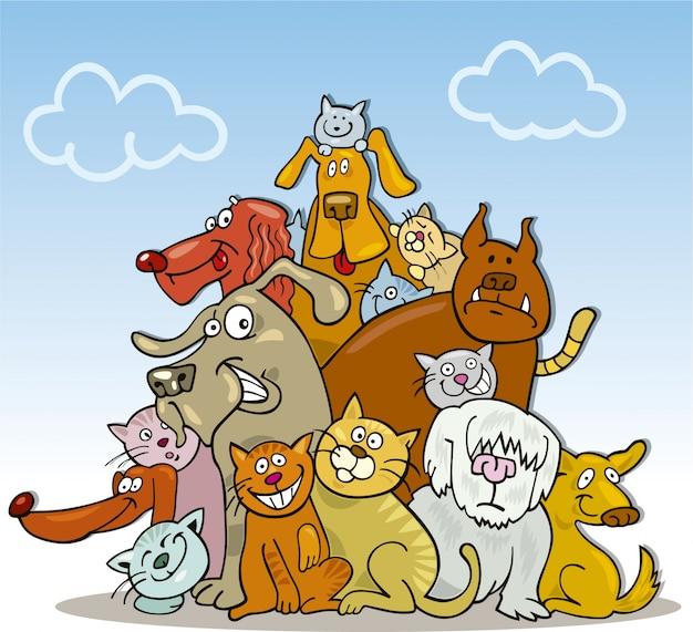 Прикольный рисунок кота и собаки