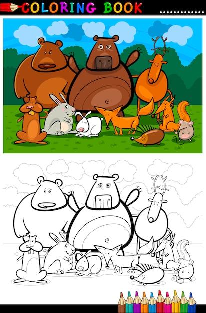 森林野生動物漫画の漫画 Premiumベクター