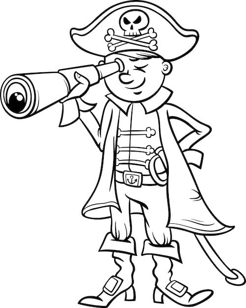 海賊少年漫画の着色ページ Premiumベクター