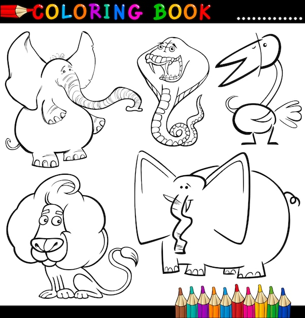 Животные для раскраски или страницы Premium векторы