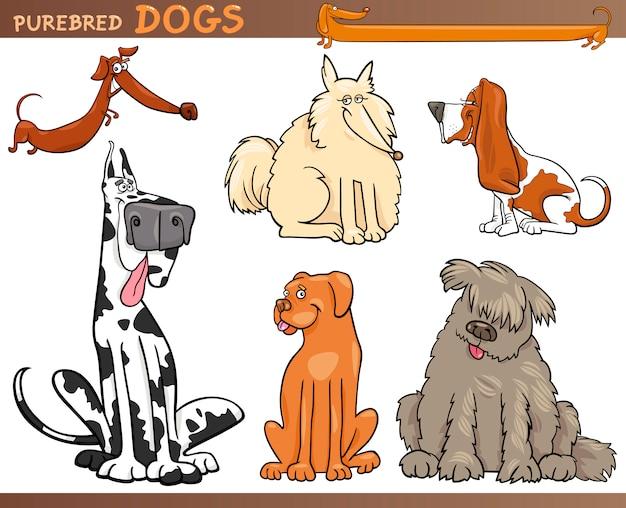 犬の品種漫画セット Premiumベクター
