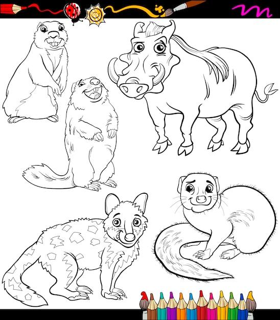 動物セット漫画ぬりえ本 Premiumベクター