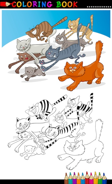 Запуск кошек для раскраски или страницы Premium векторы