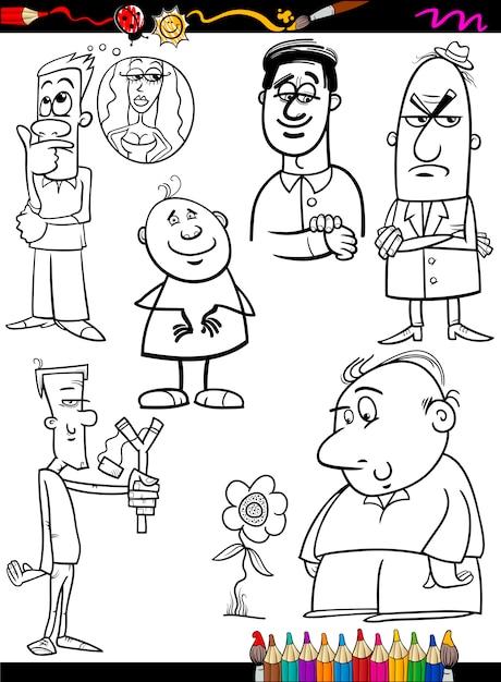 люди устанавливают страницу раскраски мультфильма вектор