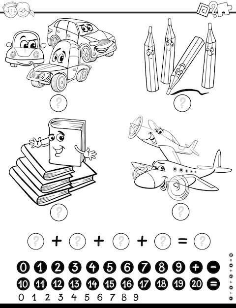 страница раскраски математических задач вектор премиум скачать