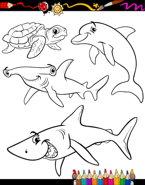 海の動物動物漫画のぬりえの本 Premiumベクター