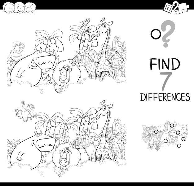 Определить разницу с книгой для окраски животных Premium векторы