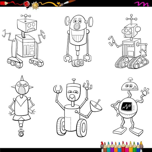 страница раскраски персонажей роботов вектор премиум скачать