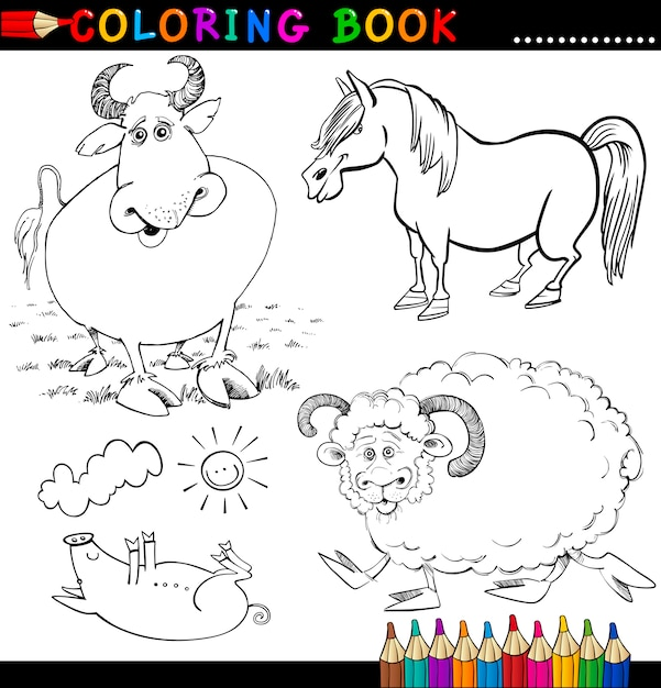 Сельскохозяйственные животные для раскраски или страницы Premium векторы