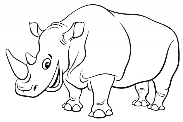 смешная страница окраски персонажа носорога вектор премиум