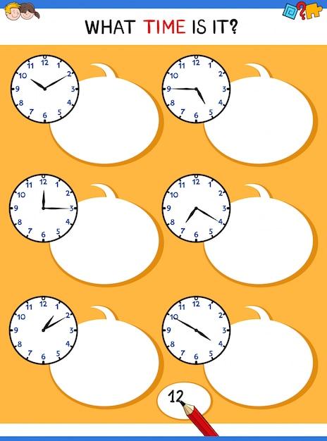 時計の顔の教育のタスクと時間を教えて Premiumベクター