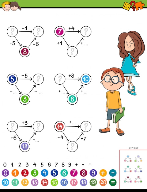 子供のための数学計算の教育タスク Premiumベクター