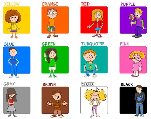 子供たちの基本色の教育セット Premiumベクター