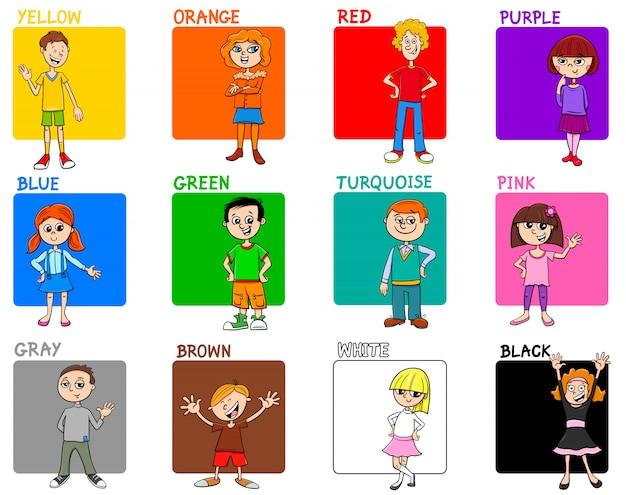 子供と基本色教育セット Premiumベクター