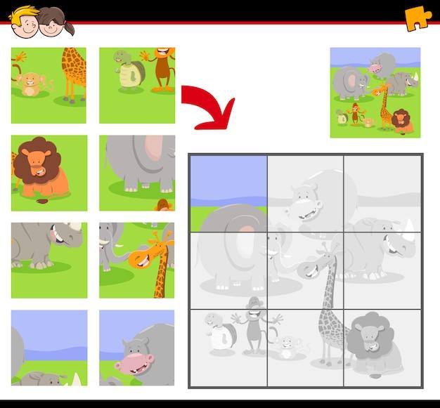動物と子供のためのジグソーパズルゲーム Premiumベクター