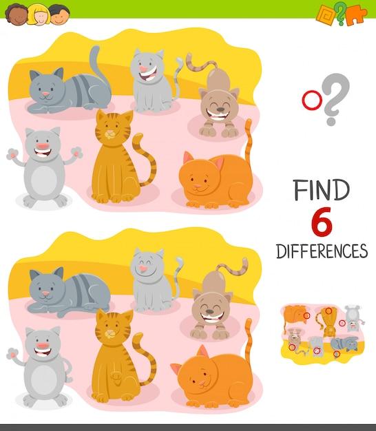 幸せな猫と子供のための違いゲーム Premiumベクター
