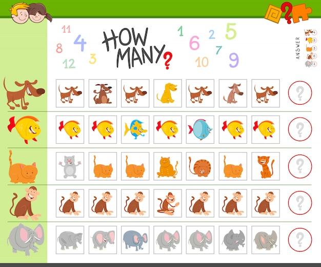 動物と子供のための教育カウントゲーム Premiumベクター