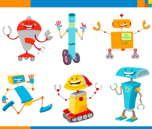 ロボットファンタジーキャラクターセットの漫画イラスト Premiumベクター