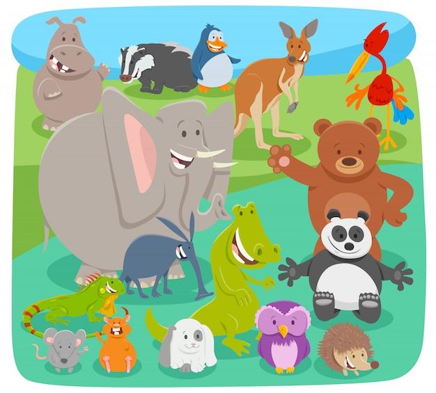 動物キャラクターグループの漫画イラスト Premiumベクター