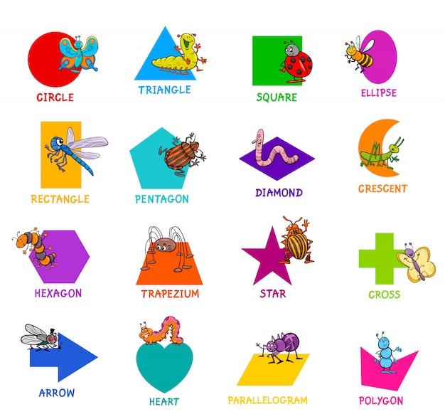 昆虫のキャラクターを持つ基本的な幾何学的図形 Premiumベクター