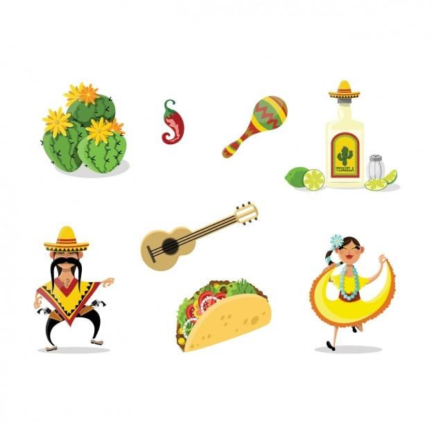Коллекция мексиканские элементы Бесплатные векторы