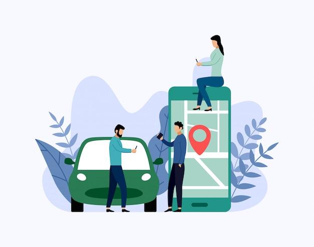 カーシェアリングサービス、モバイル都市交通、ビジネス概念図 Premiumベクター