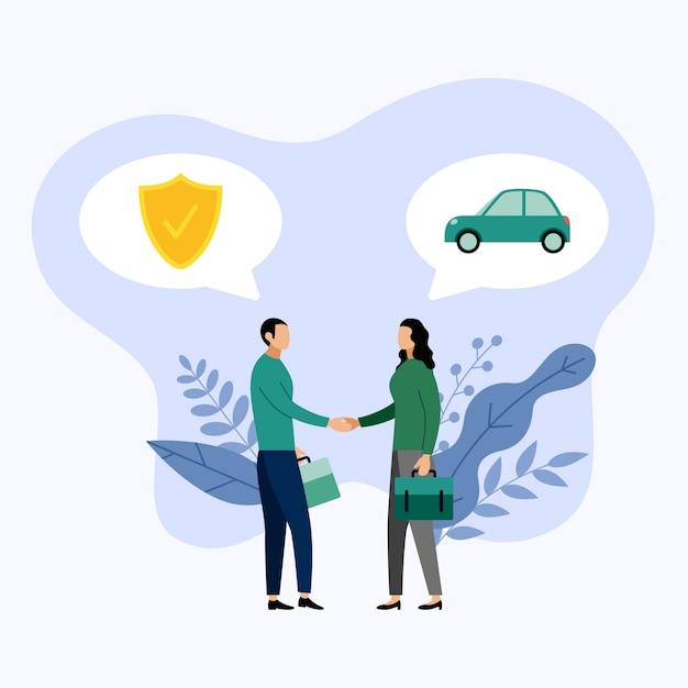 二人はベクトル図、自動車保険について話す Premiumベクター