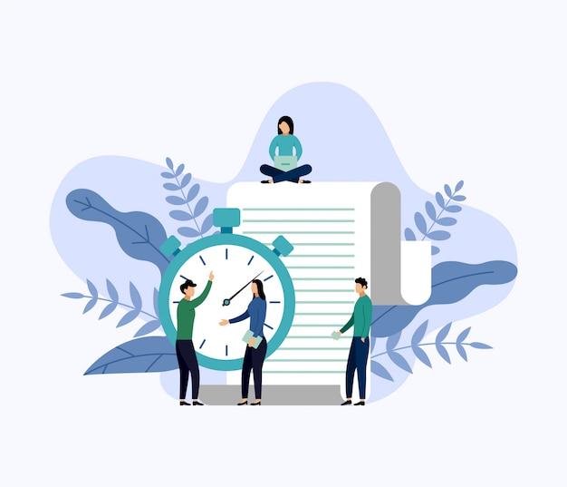 Тайм-менеджмент, график концепции или планировщик, бизнес-концепция векторная иллюстрация Premium векторы