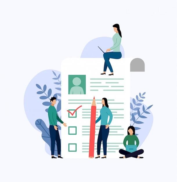 採用、チェックリスト、アンケート、ビジネス Premiumベクター