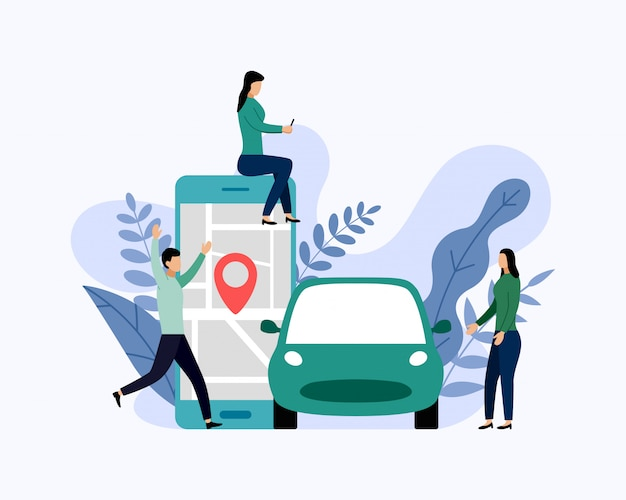 Автосервис, мобильный городской транспорт, бизнес-концепция векторная иллюстрация Premium векторы