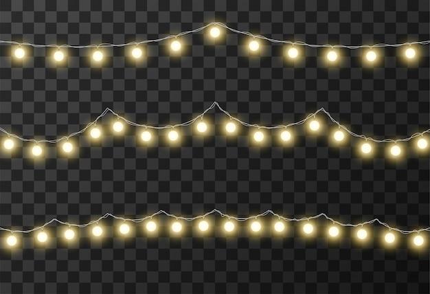 クリスマスライトの透明な背景 Premiumベクター