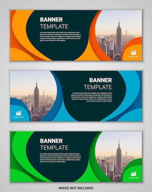抽象的な企業ビジネスバナーテンプレートセット Premiumベクター