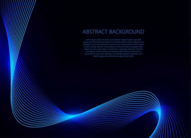 暗い青色の背景に青い波光 Premiumベクター