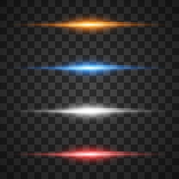 Светящиеся световые эффекты, звезда с блестками на прозрачном Premium векторы