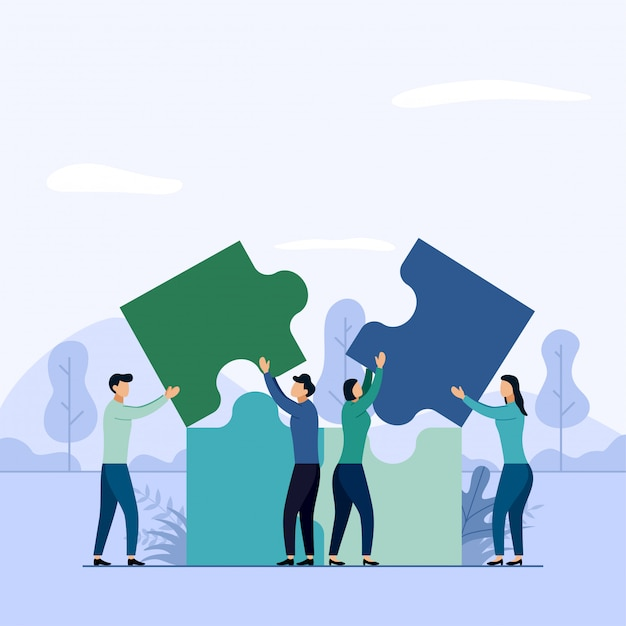Работа в команде, люди, соединяющие элементы головоломки Premium векторы