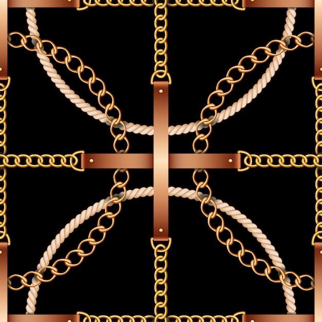 黒のベルト、チェーン、ロープのシームレスパターン Premiumベクター