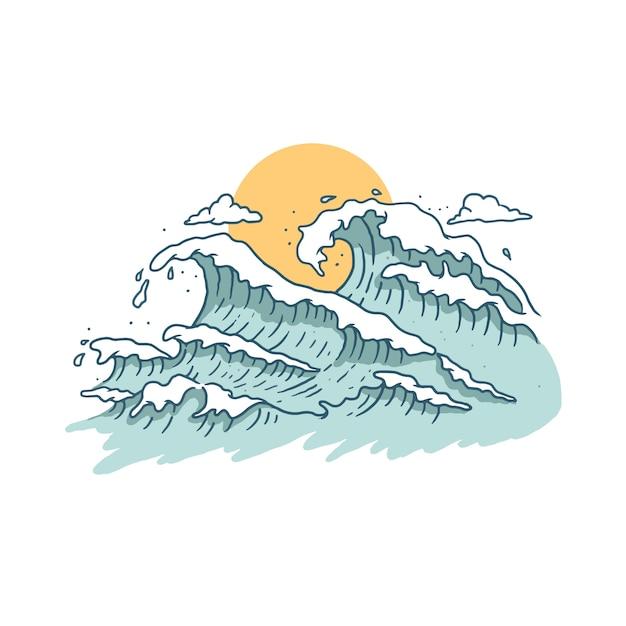 波と夕日 Premiumベクター