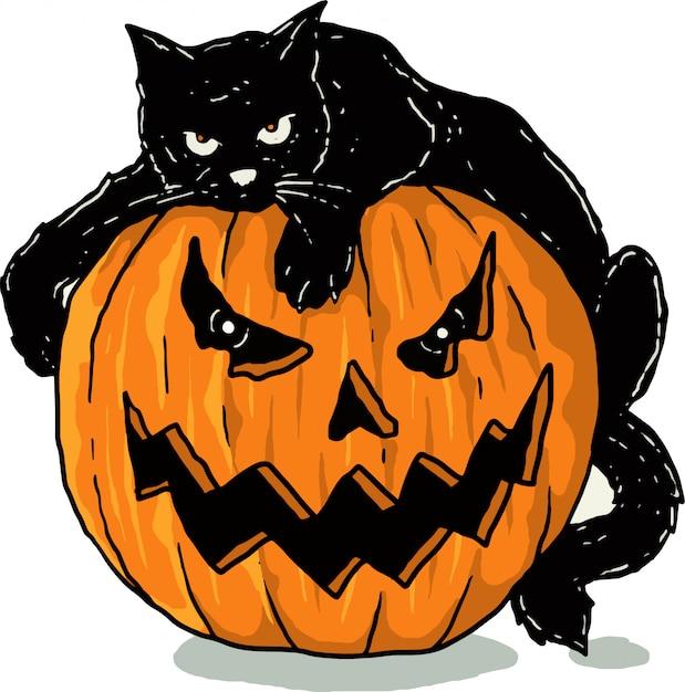 Тыквы и черная кошка Premium векторы