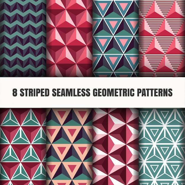 Набор полосатых бесшовных геометрических узоров Бесплатные векторы
