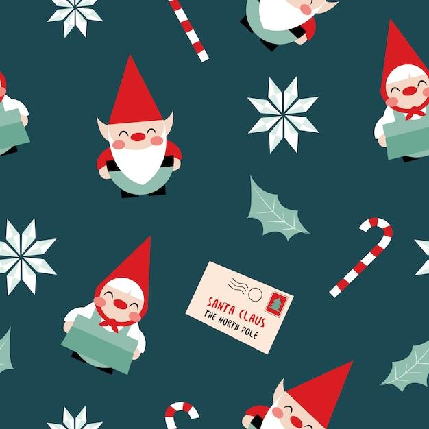 クリスマスのエルフのシームレスパターン Premiumベクター