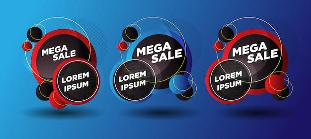 Абстрактные мега продажи баннеров с красным желтым для продаж Premium векторы