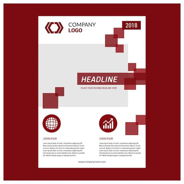 パンフレットテンプレートのレイアウト設計。企業の事業年次報告書、カタログ、雑誌モックアップ。近代的な赤の要素でレイアウトします。クリエイティブポスター、ブックレット、チラシ、またはバナーのコンセプト Premiumベクター