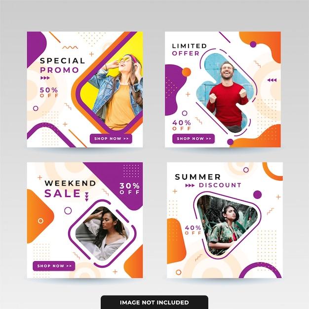 ソーシャルメディアポストデザインテンプレートパック Premiumベクター