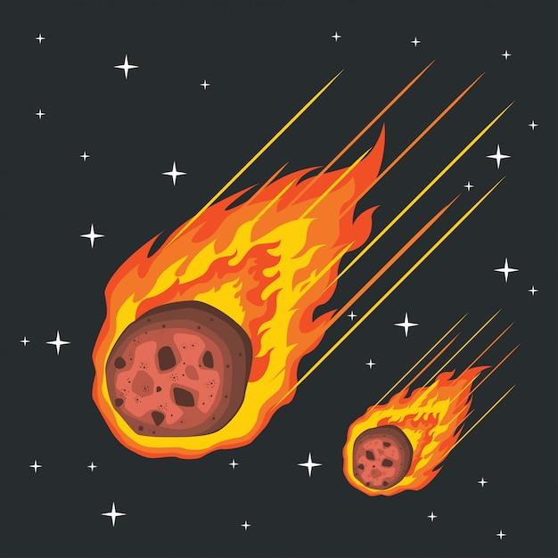 Вектор падающего метеора в огне Premium векторы